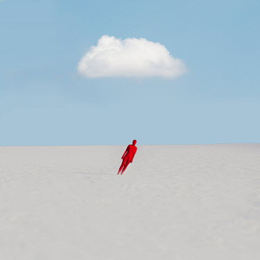 Felicia Simion Woman in red bodysuit standing in snow