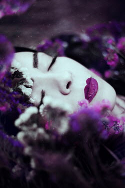 Wojciech Zwolinski Young woman with purple flowers
