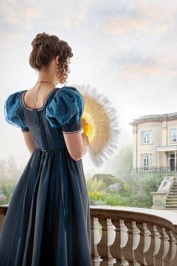 Lee Avison regency woman looking towards a mansion house