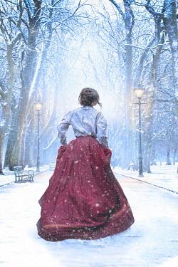 Lee Avison victorian woman running in snow