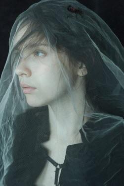 Daria Amaranth SERIOUS GIRL COVERED WITH WHITE SILK VEIL