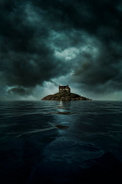 Nic Skerten HOUSE ON SMALL ISLAND WITH STORMY SKY