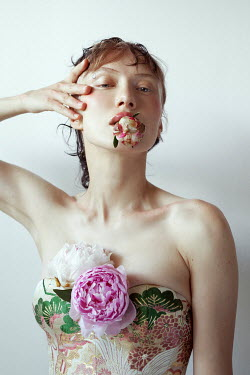 Marta Bevacqua WOMAN IN FLORAL BODICE WITH FLOWER IN MOUTH