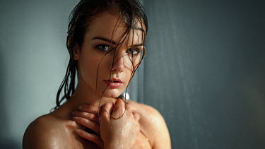 Georgy Chernyadyev SERIOUS WOMAN WITH WET HAIR IN SHOWER