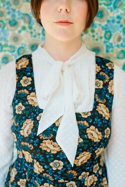 Shelley Richmond RETRO BRUNETTE WOMAN IN FLORAL DRESS