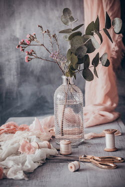 Magdalena Wasiczek PINK FLOWERS IN VASE WITH SCISSORS AND THREAD