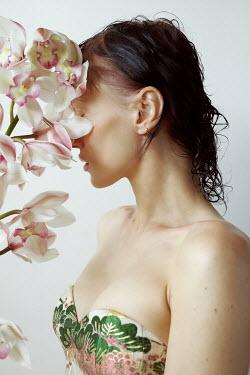 Marta Bevacqua WOMAN IN FLORAL BODICE WITH ORCHIDS