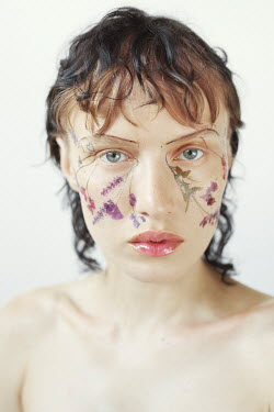 Marta Bevacqua BRUNETTE WOMAN WITH FLOWERS PAINTED ON FACE