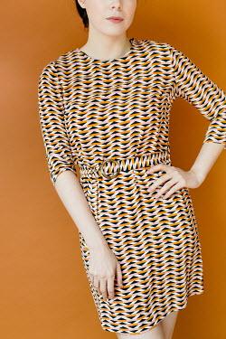 Shelley Richmond 1960S BRUNETTE WOMAN IN PATTERNED DRESS