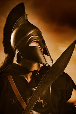 CollaborationJS HISTORICAL GREEK SOLDIER WITH SWORD AND HELMET