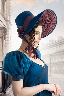Lee Avison portrait of a regency woman in the city with bonnet, ringlets and empire line dress