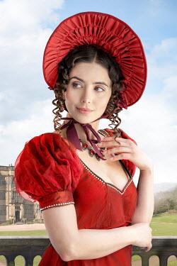 Lee Avison portrait of a regency woman wearing a red dress and bonnet