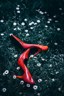 Magdalena Russocka red stilettos abandoned in grass