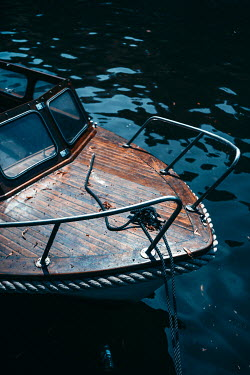 Magdalena Russocka close up of motorboat moored in lake