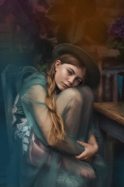 Beata Banach DAYDREAMING GIRL IN HAT SITTING BY TABLE