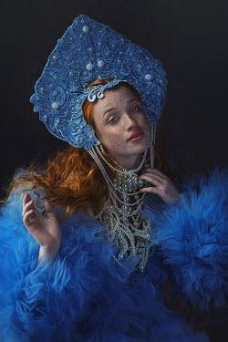Beata Banach WOMAN WITH RED HAIR PEARLS AND HEADDRESS