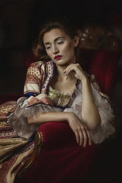 Beata Banach DAYDREAMING HISTORICAL WOMAN SITTING INDOORS