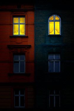 Magdalena Russocka illuminated windows of old building at night