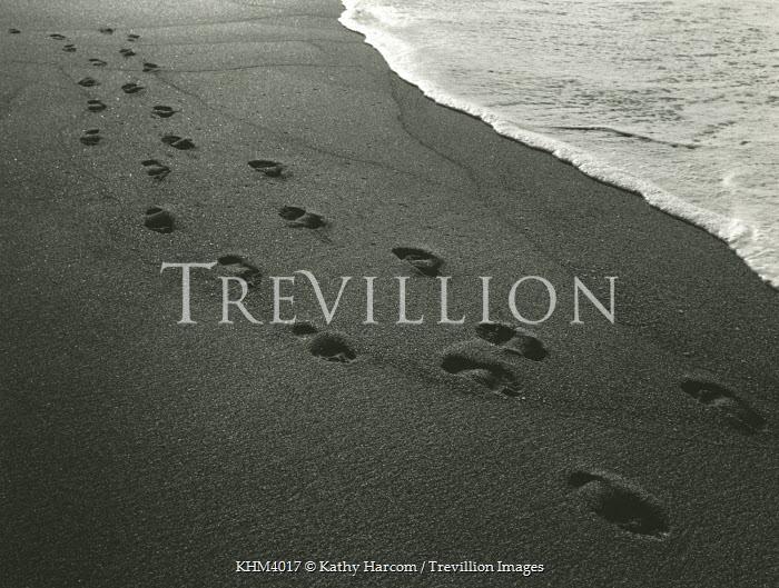 Kathy Harcom FOOTPRINTS ON BEACH Seascapes/Beaches