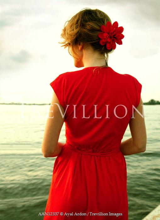Ayal Ardon WOMAN IN RED BY LAKE Women
