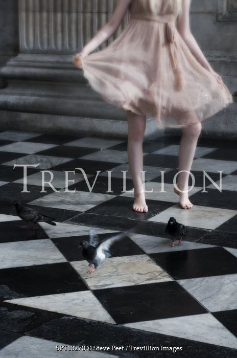 Steve Peet WOMAN DANCING IN GRAND HALLWAY Women