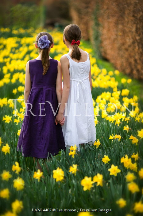 Lee Avison GIRLS HOLDING HANDS IN DAFFODIL PATCH Children
