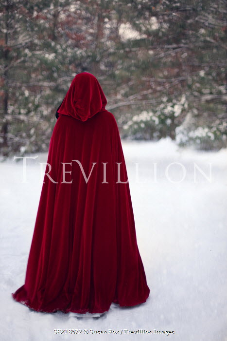 Trevillion Images The Ultimate Creative Stock Photography Susan Fox Red Cloaked Figure In Snow Pe8