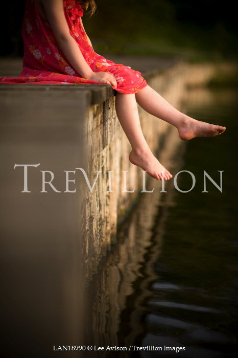 Lee Avison GIRL DANGLING FEET OVER WATER Children