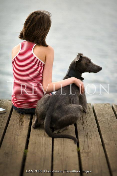 Lee Avison GIRL AND DOG ON JETTY Women