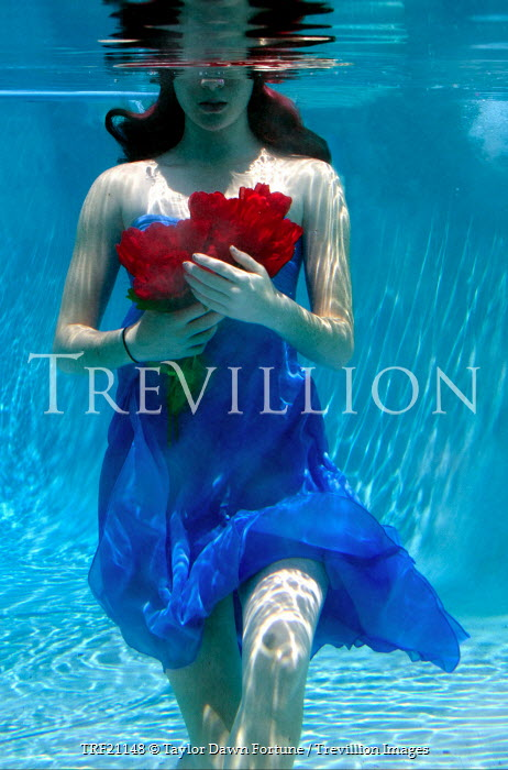 Taylor Dawn Fortune WOMAN UNDERWATER HOLDING ROSES Women