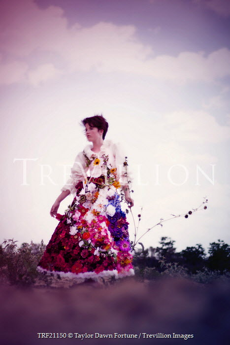Taylor Dawn Fortune DARK HAIRED WOMAN STANDING WITH FLORAL DRESS Women