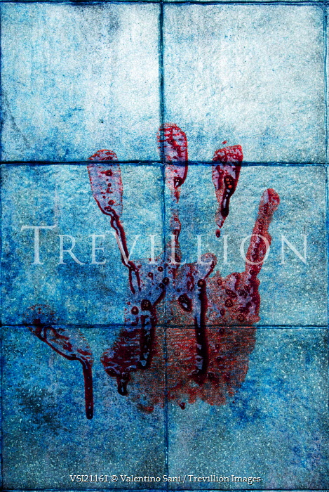 Trevillion Images Valentino Sani BLOODY HANDPRINT ON TILES PE2