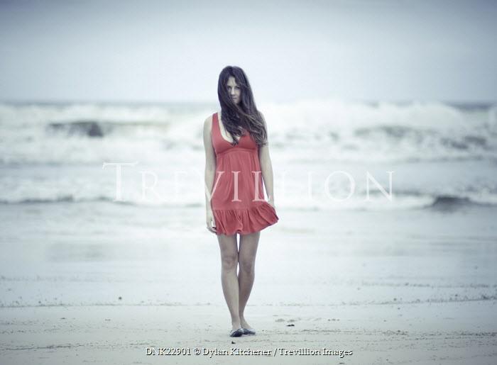 Dylan Kitchener GIRL IN RED DRESS ON BEACH Women