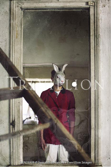Samantha Nandez Man wearing rabbit mask Men