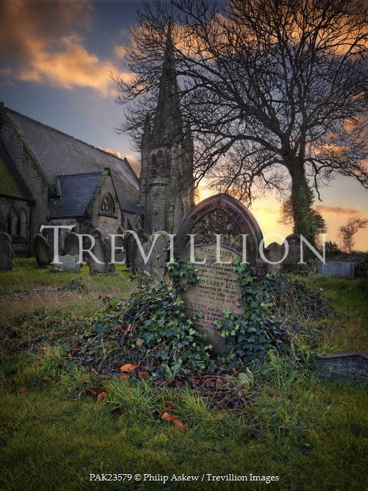 Philip Askew OLD GRAVEYARD WITH CHURCH Statuary/Gravestones