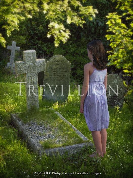 Philip Askew Girl at gravestone Children