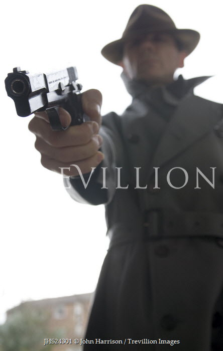 John Harrison GANGSTER IN HAT AIMING GUN Men
