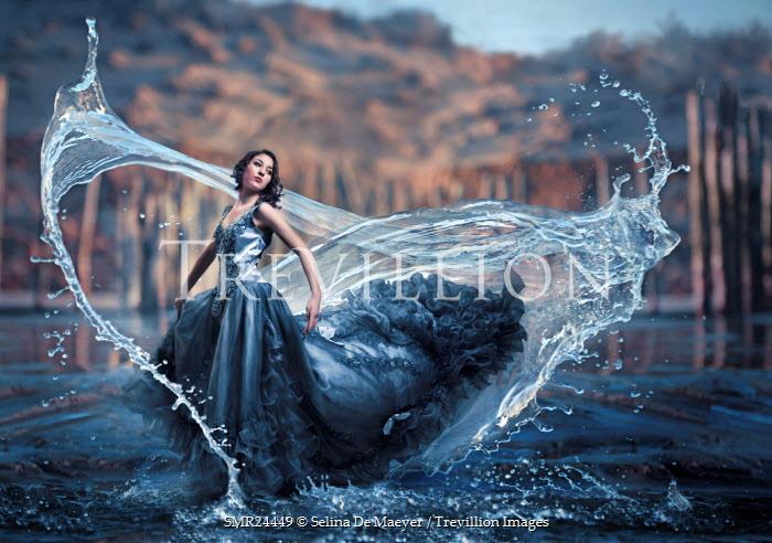 Selina De Maeyer WOMAN IN GOWN WITH SWIRLING WATER Women