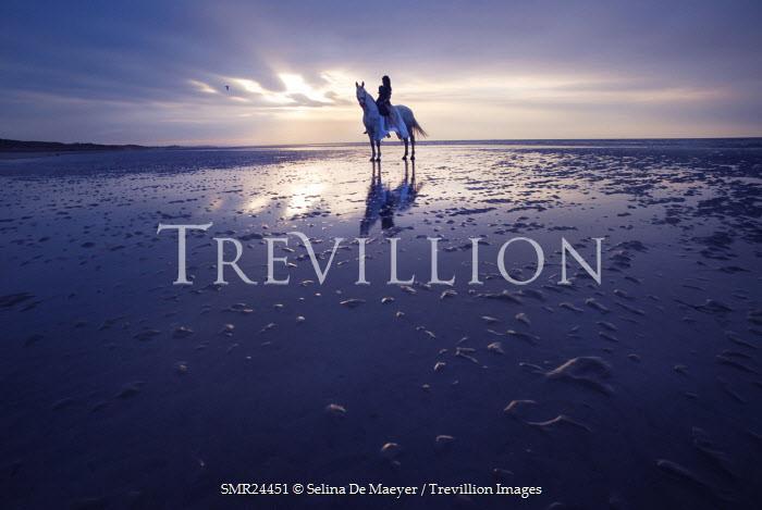 Selina De Maeyer WOMAN ON WHITE HORSE ON BEACH Women