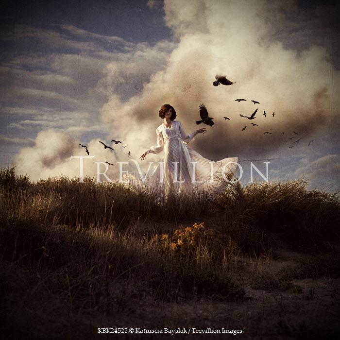 Katiuscia Bayslak WOMAN IN WHITE DRESS WITH BIRDS Women