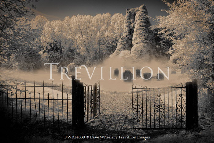 Dave Wheeler CHURCHYARD IN SNOW WITH OPEN GATES Statuary/Gravestones
