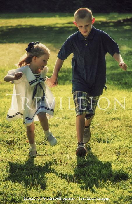 Elisabeth Ansley TWO CHILDREN HOLDING HANDS RUNNING IN SUNSHINE Children