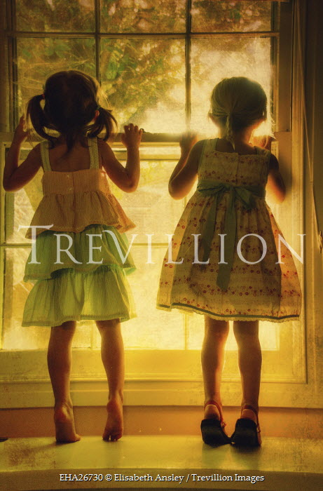 Elisabeth Ansley TWO YOUNG GIRLS BY WINDOW Children