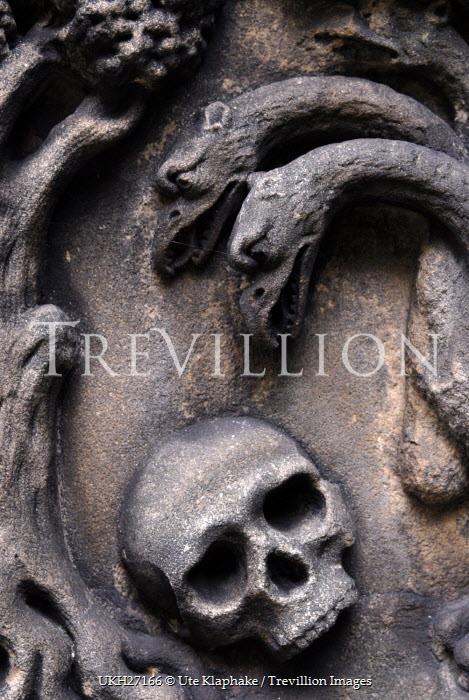 Ute Klaphake CARVED STONE SKULL AND MONSTER Statuary/Gravestones