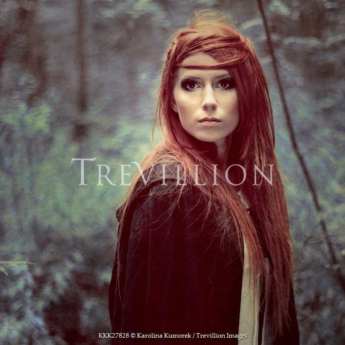 Karolina Kumorek WOMAN WITH LONG RED HAIR IN FOREST Women