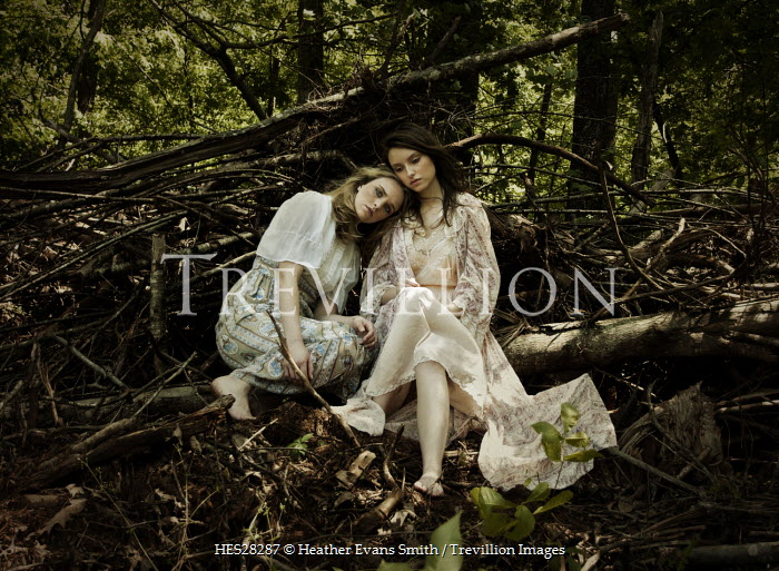 Heather Evans Smith TWO WOMEN SITTING IN FOREST Women