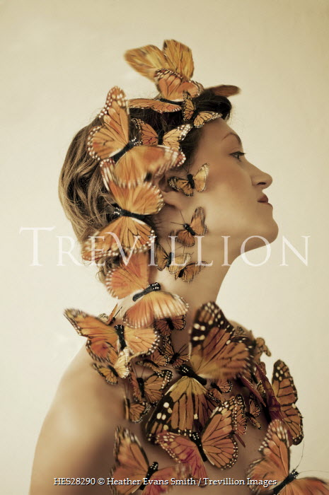 Heather Evans Smith WOMAN COVERED WITH ORANGE BUTTERFLIES Women