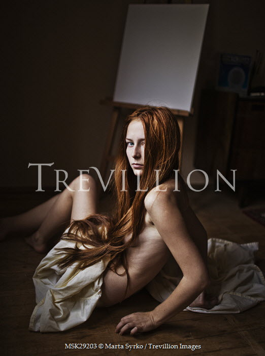 Marta Syrko NAKED WOMAN LYING WITH RED HAIR Women
