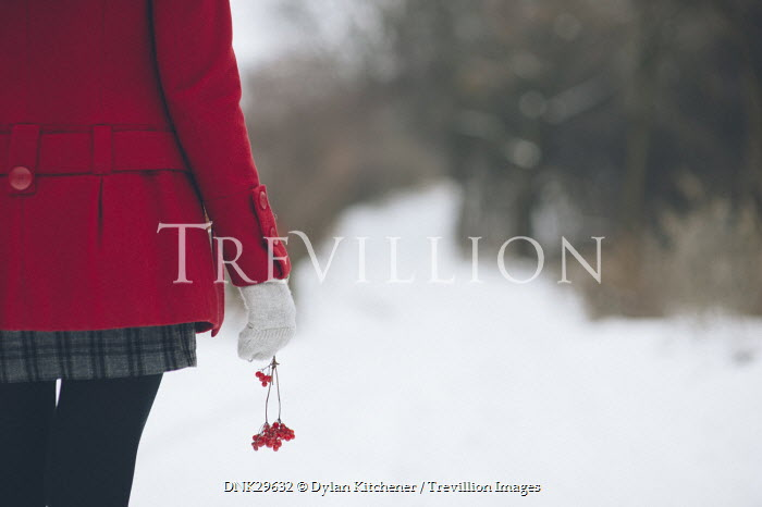 Dylan Kitchener GIRL IN RED JACKET IN SNOW Women