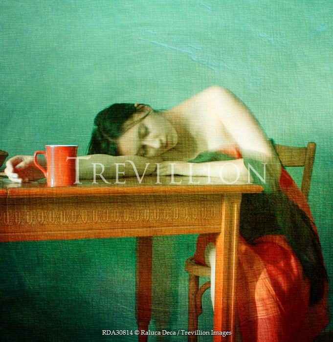 Raluca Deca WOMAN SLEEPING ON WOODEN TABLE Women